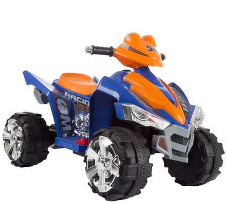 Lil' Rider Battery-Operated Ride-On Quad in Blue & Orange