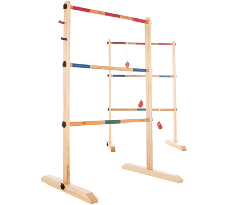 Hey! Play! Double Wooden Ladder Toss with 6 Bol as