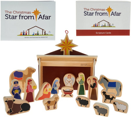 The Star From Afar 52 Piece Nativity Set, Book and Game