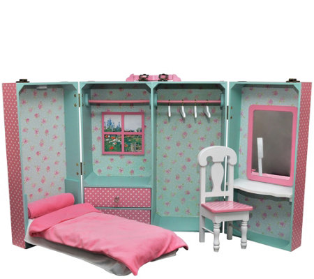 "The Queen's Treasures 18"" Doll Trunk & BedroomPlay Set"