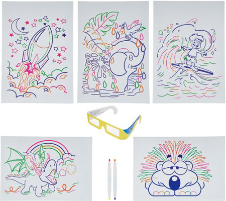 Glow Pad Activity Set with Markers, Illustrations & 3D Glasses