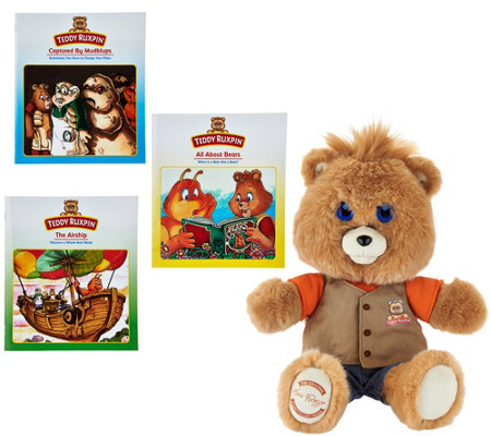 """As Is"" Teddy Ruxpin Animated Storytelling Bear with 3 Books"