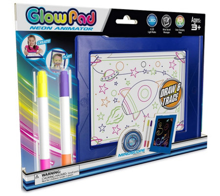 Glow Pad with 4 Neon Markers & 8 LED Light Modes