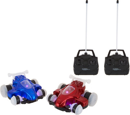 HoverQuads Set of 2 Remote Control Stunt Cars with Lights