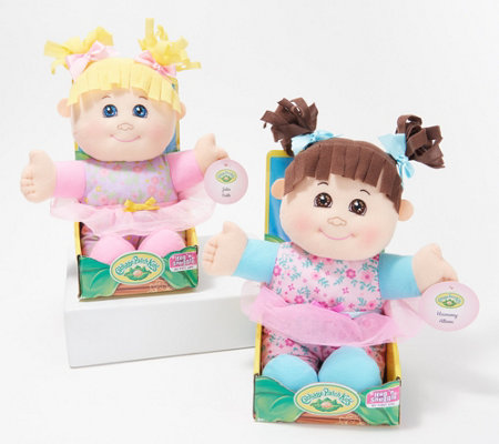"Cabbage Patch Kids Set of Two Hug n Snuggle 12"" Soft Boddied Dolls"