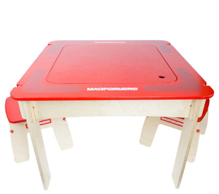 Magformers Red Square Wood Play Table Set