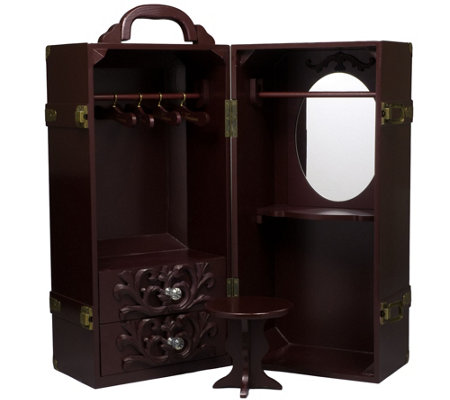 "The Queen's Treasures 18"" Doll Mahogany Wardrobe Trunk"