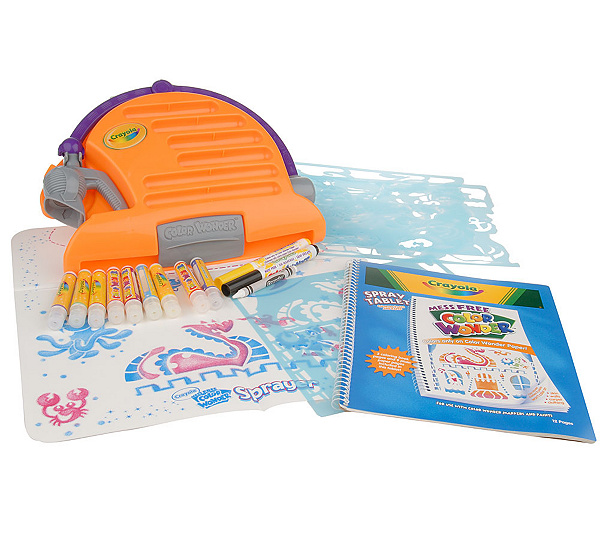 crayola color wonder mess free airbrush kit with playmat qvc com