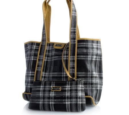 Tignanello Check Fabric Double Handle Tote Bag