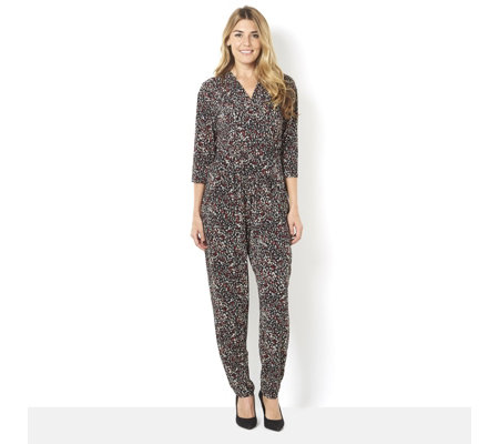 5a7385daa00 Kim   Co Brazil Jersey V-Neck 3 4 Sleeve Jumpsuit - Page 1 - QVC UK