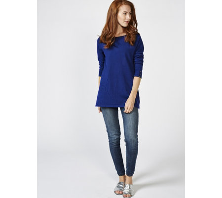 Rib Neckline Jumper with Button Cuff by Michele Hope