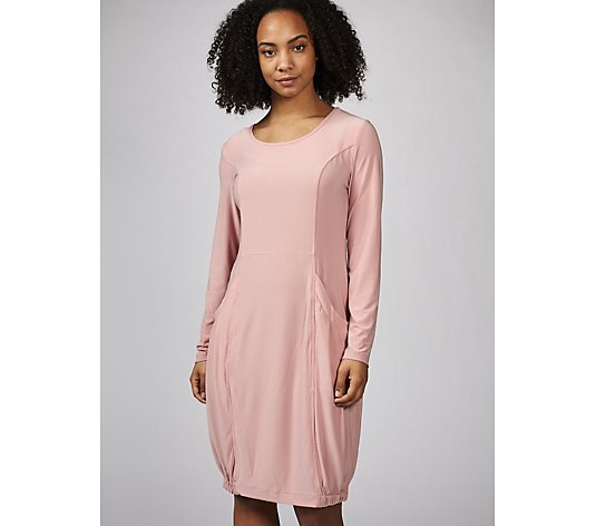 Long Sleeve Dress with Elasticated Hem & Front Pockets by Nina Leonard