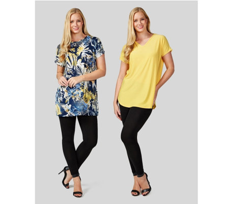 Antthony Designs Pack of Two Printed & Plain Tops with Cap Sleeves