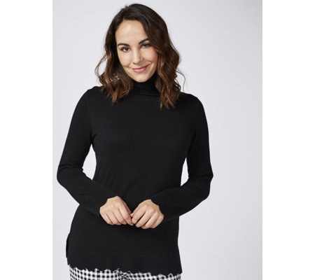 Isaac Mizrahi Live Roll Neck Scallop Hem Long Sleeve Knitted Jumper