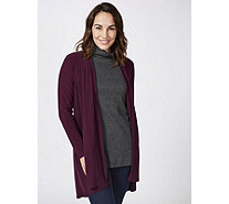 Hi Low Hem Cardigan with Faux Pearl Detail by Nina Leonard - 174600