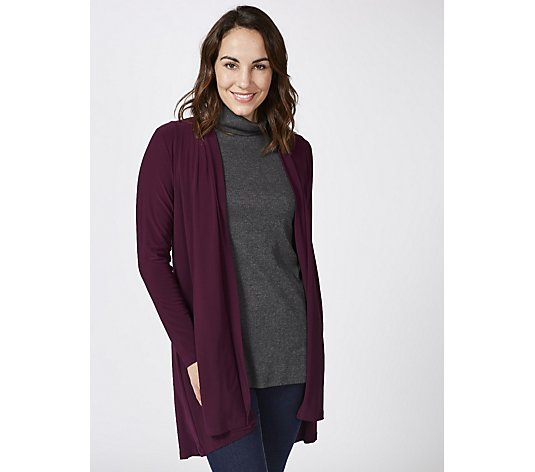 Hi Low Hem Cardigan with Faux Pearl Detail by Nina Leonard