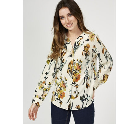 Denim & Co Stretch Crepe Floral Print Shirt