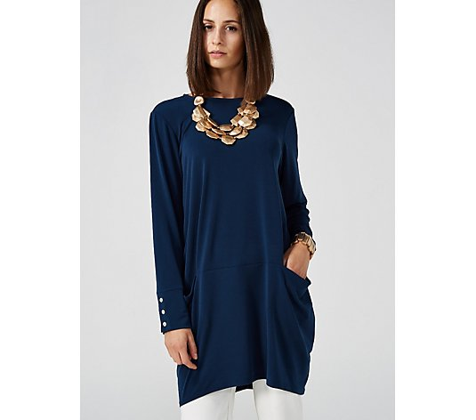 MarlaWynne Luxe Crepe Tunic with Button Detail & Pockets