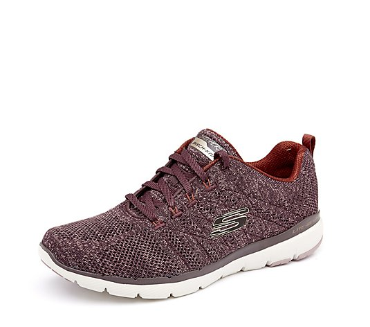 Outlet Skechers Flex Appeal 3 High Tides Flat Knit Lace Trainer