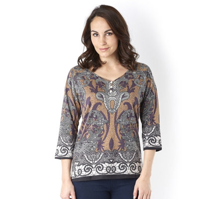 Artscapes Bourges Y Button Front Neck Top