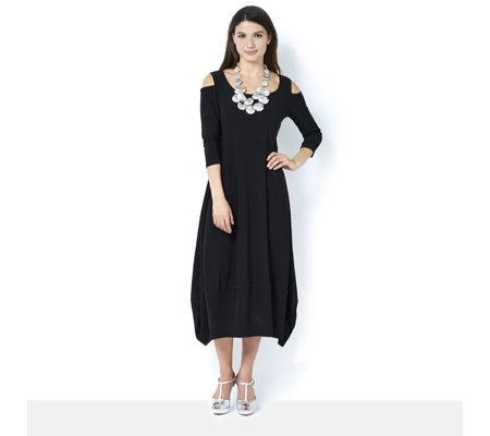 MarlaWynne Matt Jersey Midi Balloon Dress with Cold Shoulder Detail