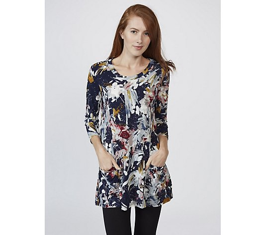 3/4 Sleeve Printed Top with Side Drape Pockets by Nina Leonard