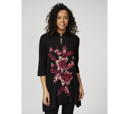 Butler & Wilson Chinese Neck Sequin Floral Top