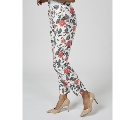 Denim & Co. Printed Slim Leg Ankle Trousers with Pockets