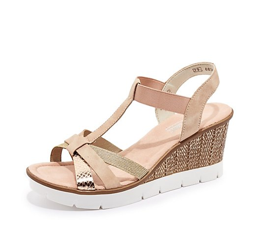 Outlet Rieker Metallic Strap Wedge Sandal