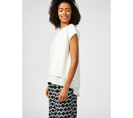 Ben de Lisi Layered Crepe Cap Sleeve Hi Lo Top