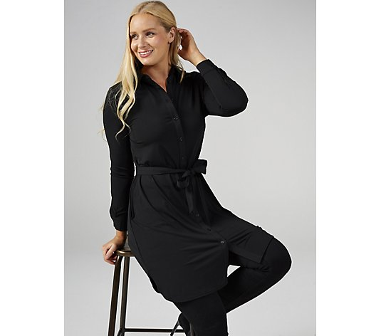 Together Tie Belt Tunic Dress