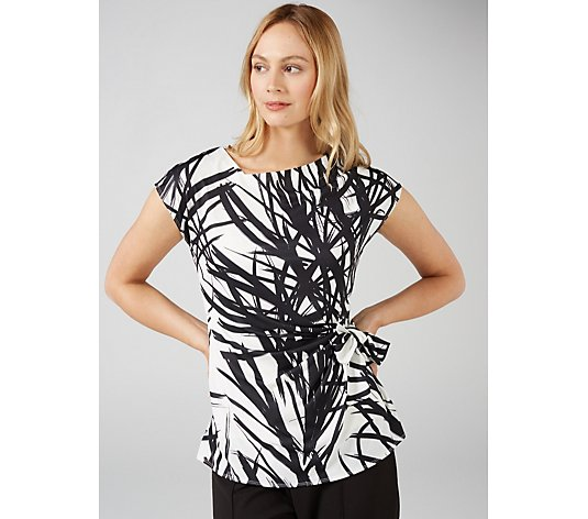 Ben de Lisi Printed Top with Asymmetric Neckline & Side Tie Detail
