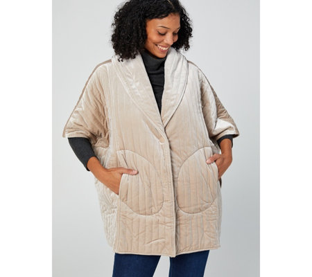 WynneLayers Quilted Velvet Poncho Jacket