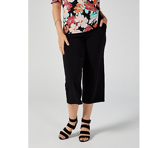 Kim & Co Brazil Jersey Relaxed Leg Cropped Trousers with Pockets