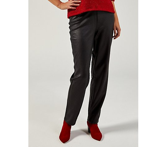 Kim & Co Croco Pleather Trousers with Pockets Regular