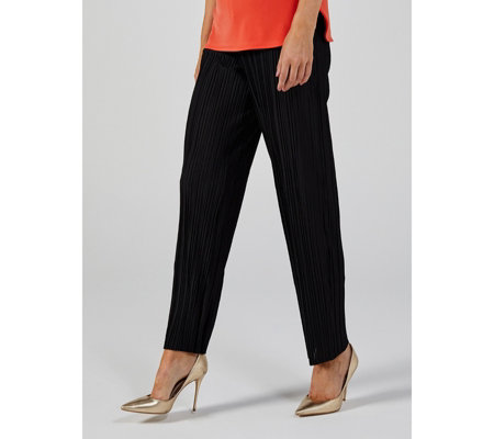 Pleated Wide Leg Trousers Regular Length by Nina Leonard