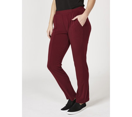 Slim Leg Stretch Waist Crepe Trousers by Nina Leonard