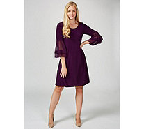 Coco Bianco Scoop Neck Dress with Woven Sleeves - 173702