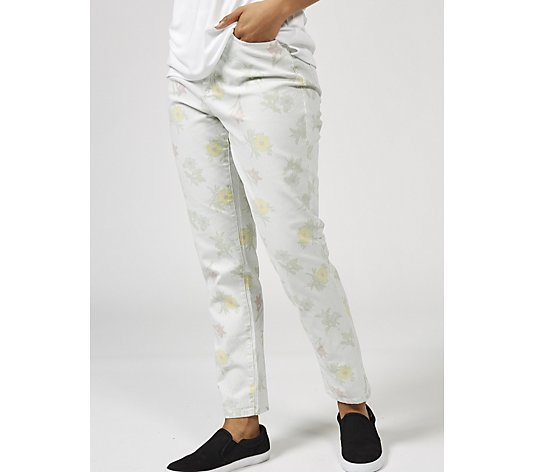 Denim & Co. Studio Print Stripe Floral Ankle Trousers
