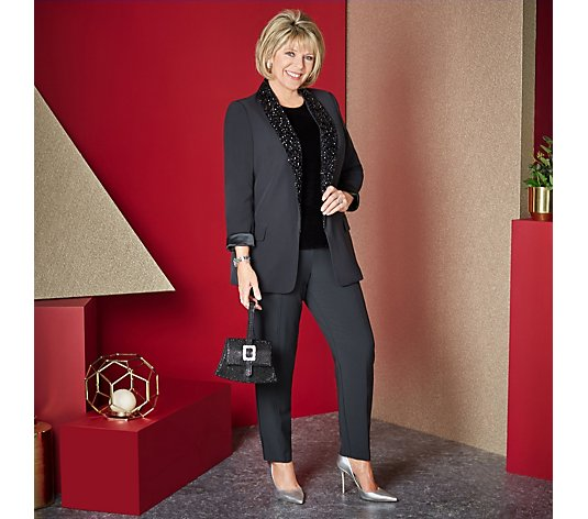 Ruth Langsford Classic Tailored Blazer with Beaded Trim