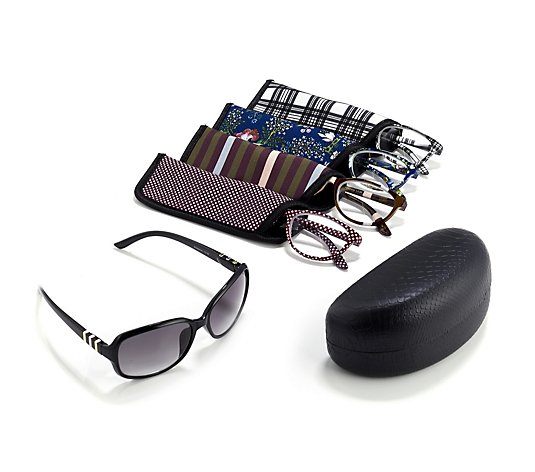 Set of 4 Reading Glasses & 1 Pair of Sunglass Readers