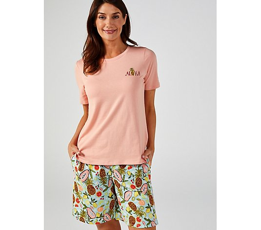 Cuddl Duds Cotton Touch Tee & Short Pyjama Set