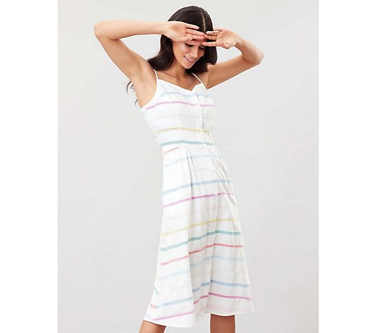 Joules Abby Button Stripe Strappy Dress