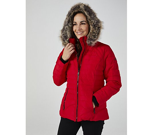 Centigrade Faux Down Short Padded Coat with Faux Fur Hood