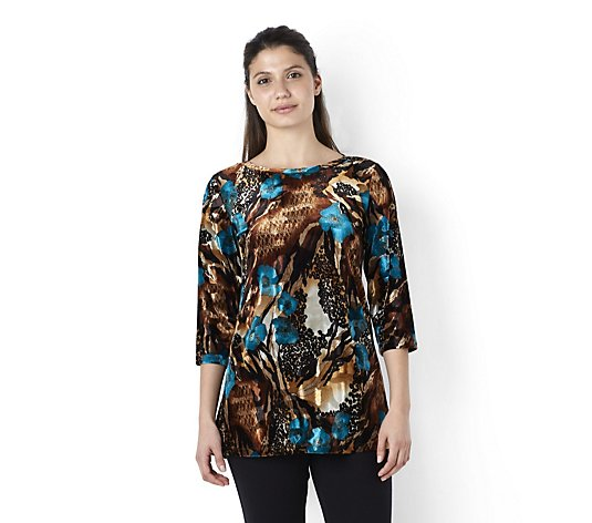 Kim & Co Poppy Print Velvet 3/4 Sleeve Boat Neck Tunic