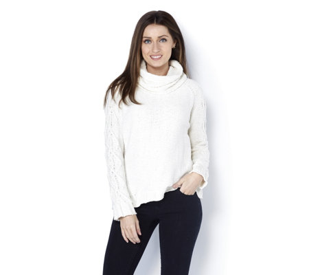 MarlaWynne Chenille Cowl Neck Easy Sweater