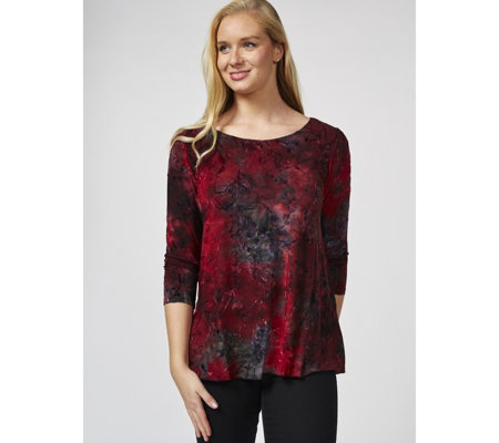 Together 3/4 Sleeve Devore Tunic