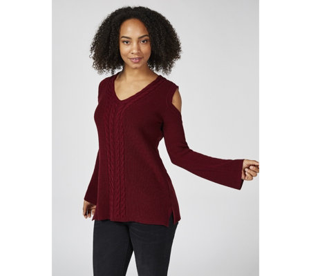Long Sleeve Sweater Knit Cold Shoulder Top by Nina Leonard