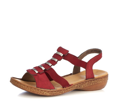 Rieker Metal T Bar Sandal with Back Heel Strap