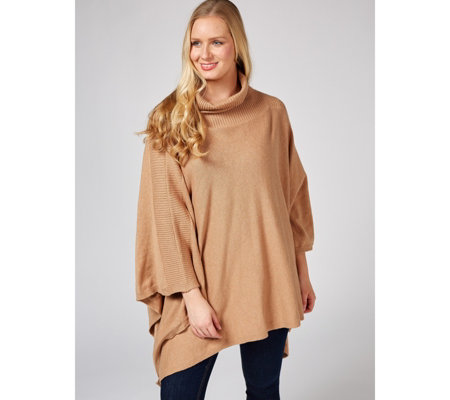 Dennis by Dennis Basso Turtleneck Knitted Poncho